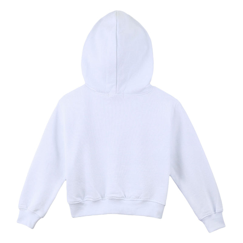 Girls White Cotton Hooded Sweater With Brand Name Logo - CÉMAROSE | Children's Fashion Store - 2