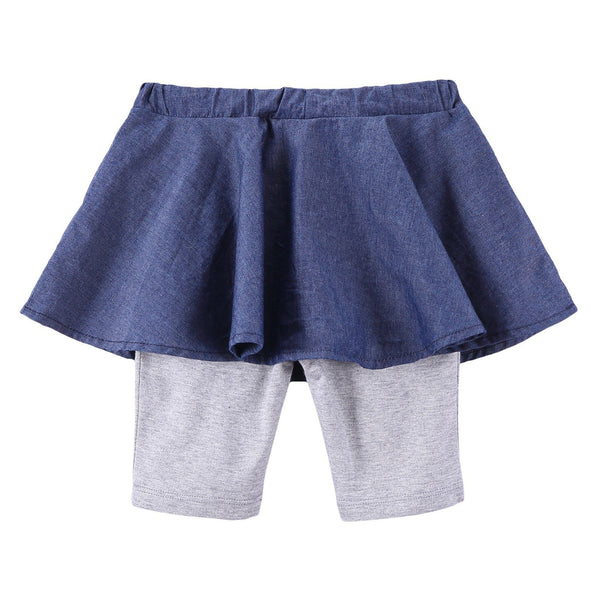 Baby Girls Blue Embroidered Trims Skirt With Grey Leggings - CÉMAROSE | Children's Fashion Store - 2