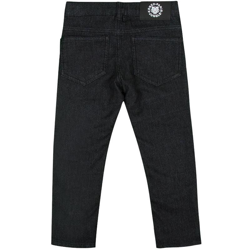 Boys Black Monster Embroidered Jeans With Metal Logo - CÉMAROSE | Children's Fashion Store - 2