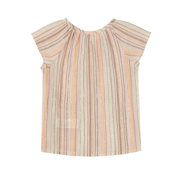 Baby Girls Pink & Brown Stripe Cotton Top