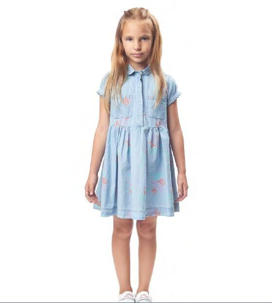 Girls Light Blue Printed Trims Shirts Style Dress - CÉMAROSE | Children's Fashion Store - 2