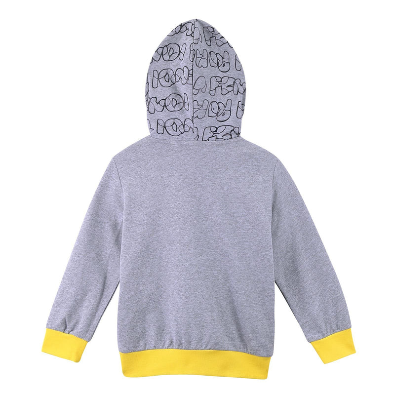 Boys Grey Cotton Printed Trims Zip-up Tops With Yellow Cuffs - CÉMAROSE | Children's Fashion Store - 3