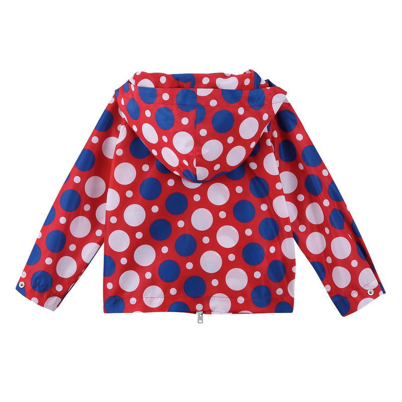 Girls Red Cotton Hooded Jacket With Multicolor Spot Print - CÉMAROSE | Children's Fashion Store - 3