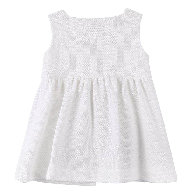 Baby Girls White Dress With Gold Button - CÉMAROSE | Children's Fashion Store - 2