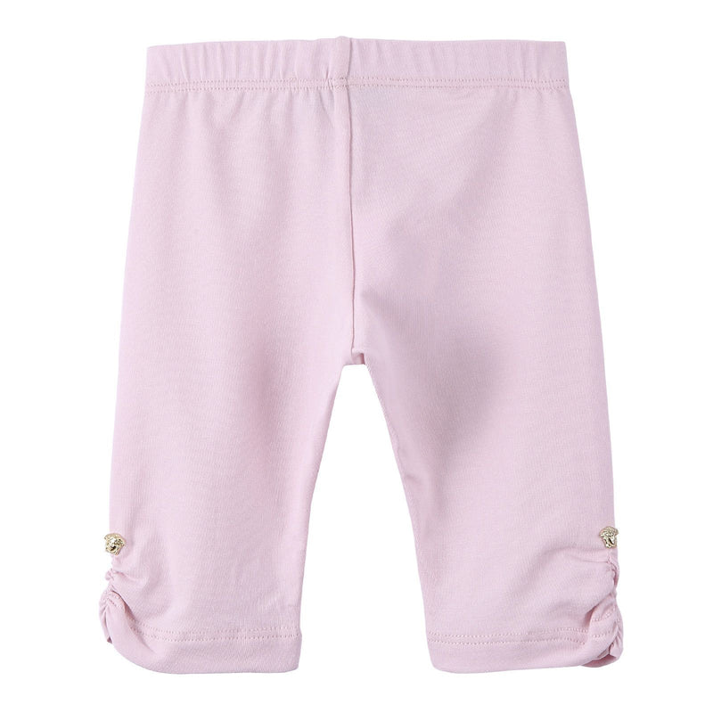 Baby Girls Pink Cotton Ruffle Cuffs Leggings With Patch Logo - CÉMAROSE | Children's Fashion Store - 2