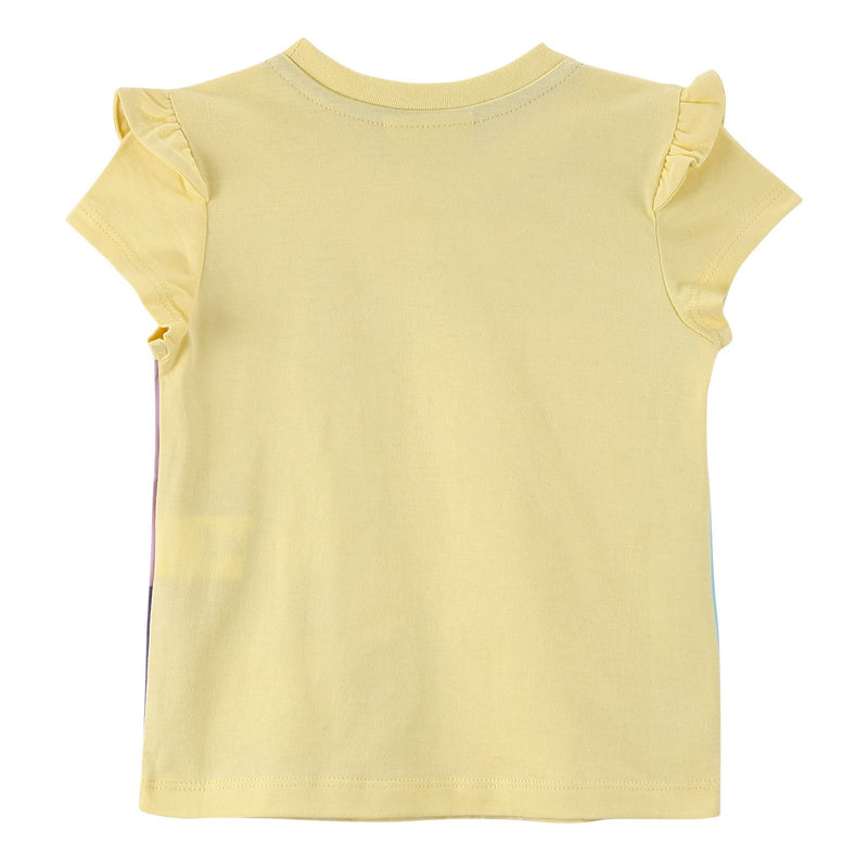 Girls Multicolour Cotton T-Shirt With Yellow Frilly Cuffs - CÉMAROSE | Children's Fashion Store - 3