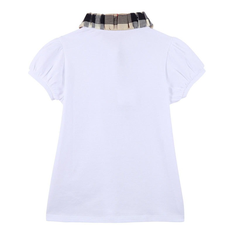 Girls White Cotton T-Shirt With Check Collar - CÉMAROSE | Children's Fashion Store - 2