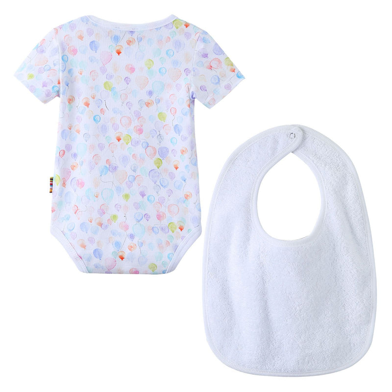 Baby Girls Multicolor Balloon Printed Bodysuit & Bib Set - CÉMAROSE | Children's Fashion Store - 2
