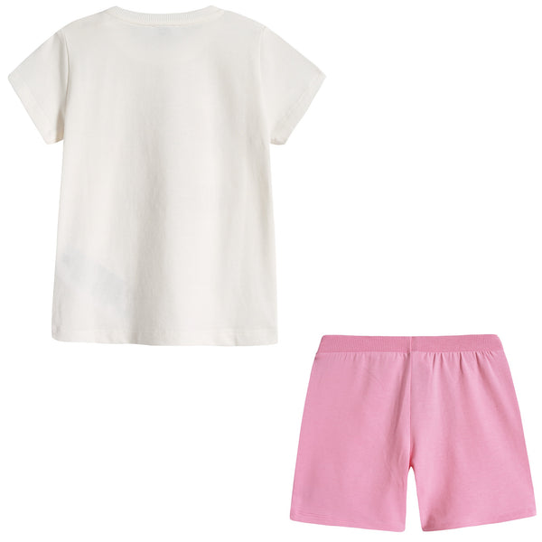 Baby Boys & Girls Ivory & Pink Cotton Shorts Set