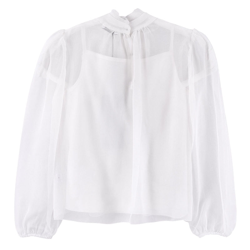 Girls Ivory Bows Trims See-Through Blouses - CÉMAROSE | Children's Fashion Store - 2