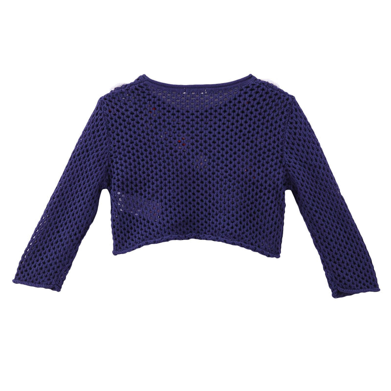 Girls Navy Blue Knitted Cotton Sweater With Patch Flower Trims - CÉMAROSE | Children's Fashion Store - 2