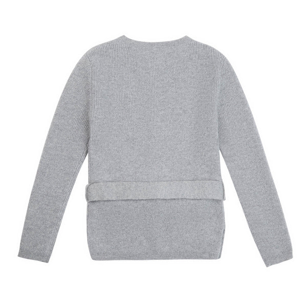 Girls Grey Belt Wool Cardigan