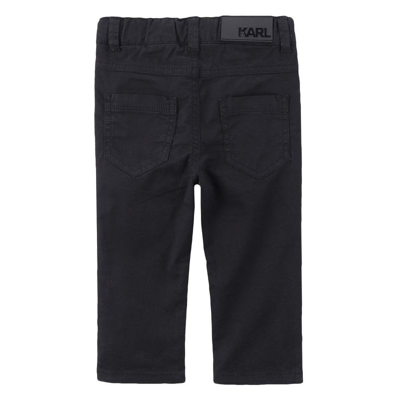 Baby Black Cotton Straight Trousers - CÉMAROSE | Children's Fashion Store - 2
