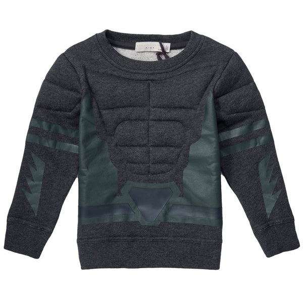 Rowbow Boys Dark Grey Fleece Sweatshirt - CÉMAROSE | Children's Fashion Store - 1