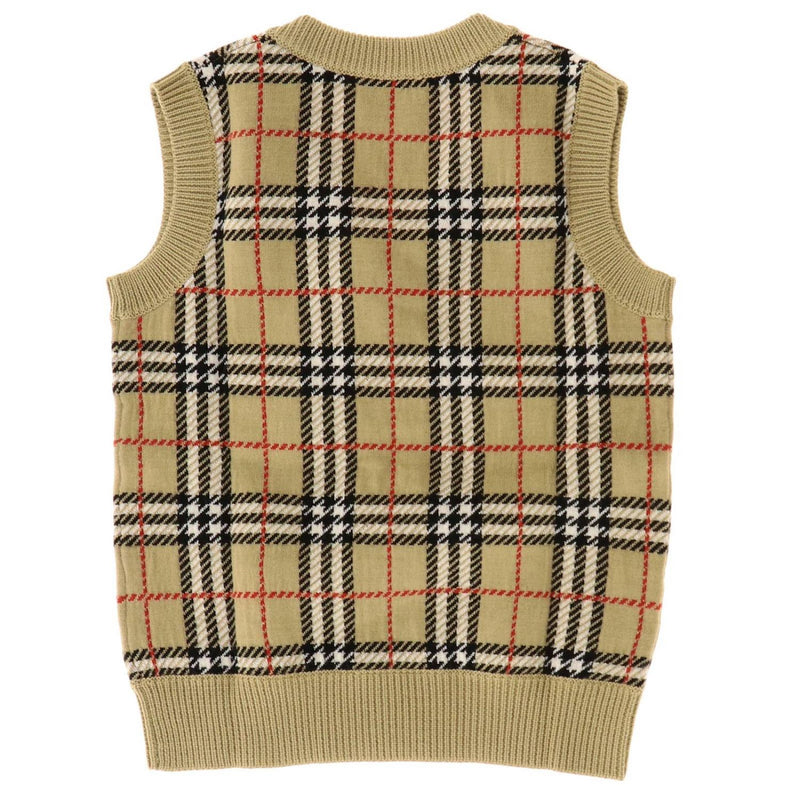 Boys Beige Check Wool Vest