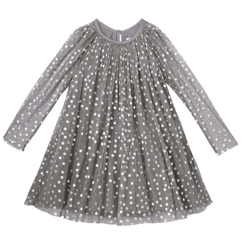 Misty Girls Grey Cotton Shiny Silver Stars Printed Dress - CÉMAROSE | Children's Fashion Store - 1