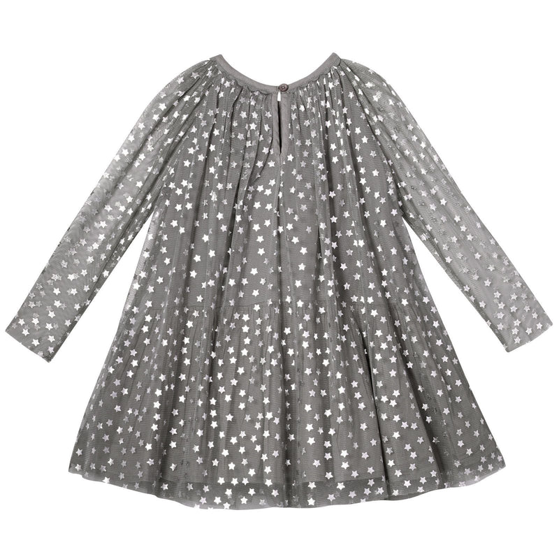 Misty Girls Grey Cotton Shiny Silver Stars Printed Dress - CÉMAROSE | Children's Fashion Store - 2