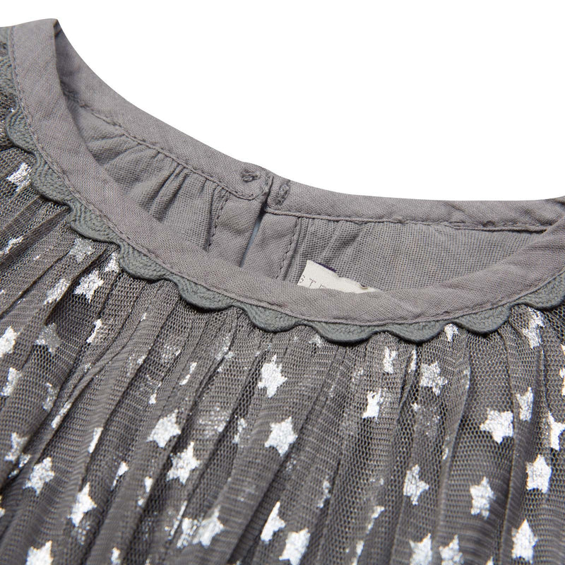 Misty Girls Grey Cotton Shiny Silver Stars Printed Dress - CÉMAROSE | Children's Fashion Store - 3