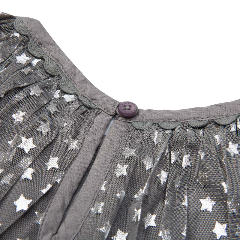 Misty Girls Grey Cotton Shiny Silver Stars Printed Dress - CÉMAROSE | Children's Fashion Store - 4