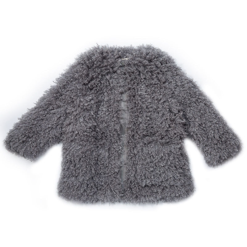 Sparkles Girls Grey Fluffy Coat With Two Pockets - CÉMAROSE | Children's Fashion Store - 1