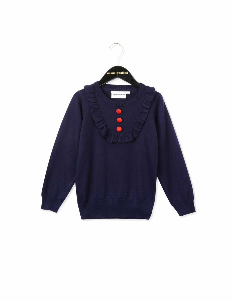 Baby Girls Navy Blue Knitted Frilly Trims Sweater - CÉMAROSE | Children's Fashion Store