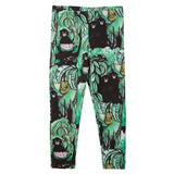 Boys&Girls Bright Green&Black Monkey Printed Leggings - CÉMAROSE | Children's Fashion Store - 1