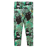 Boys&Girls Bright Green&Black Monkey Printed Leggings - CÉMAROSE | Children's Fashion Store - 2