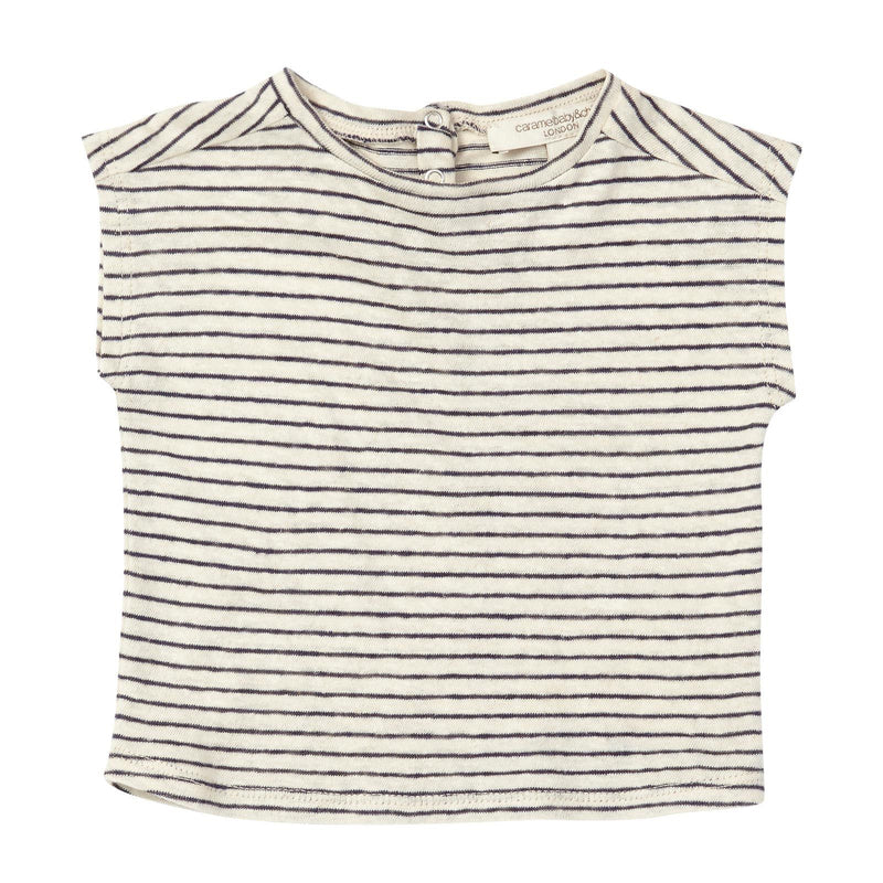 Baby Navy Blue&White Stripe Sleeveless Jersey T-Shirt - CÉMAROSE | Children's Fashion Store