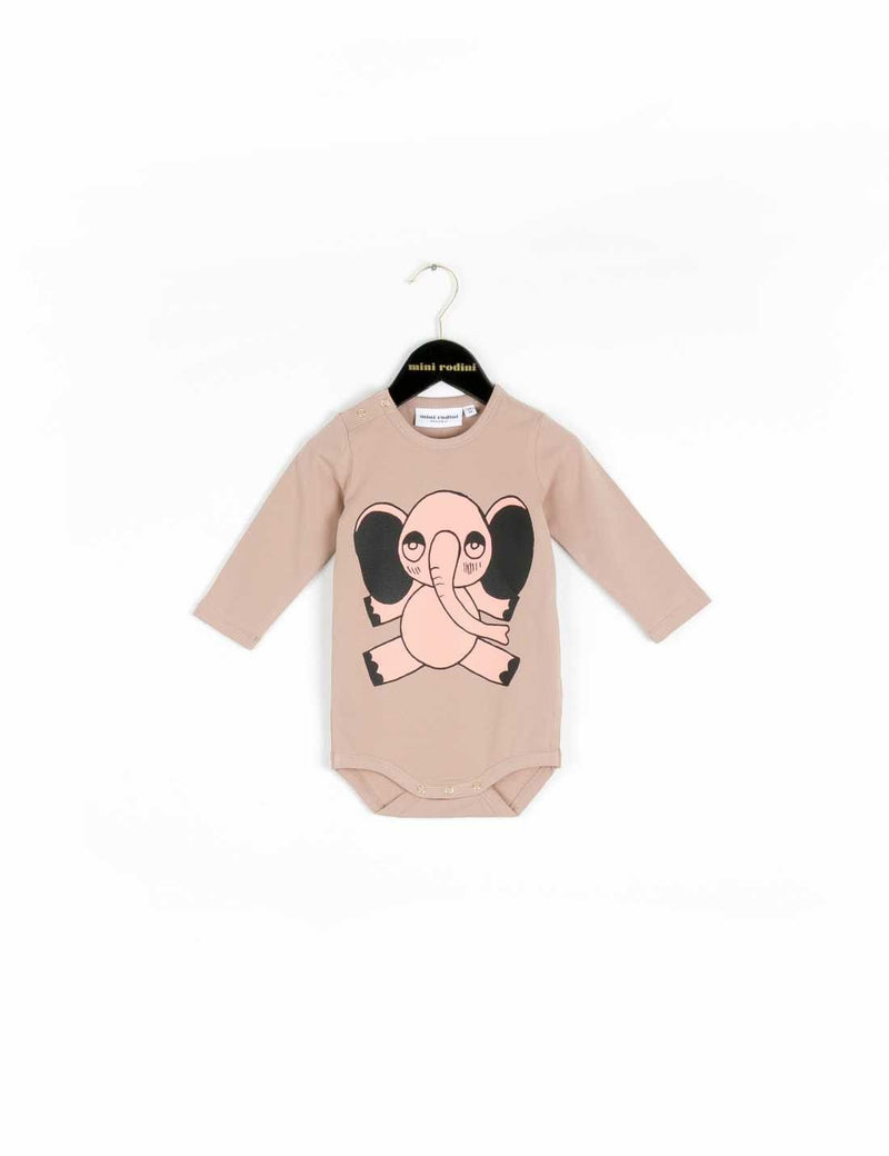 Beige Elephant Long Sleeve Bodysuit - CÉMAROSE | Children's Fashion Store