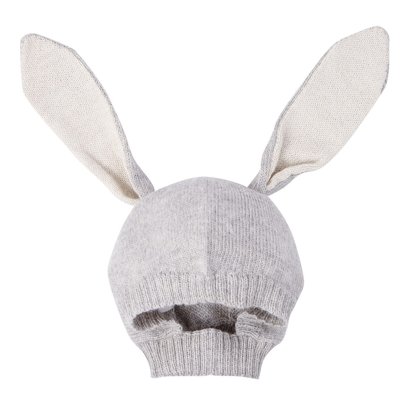Baby Light Grey Alpaca Wool Knitted Rabbit Cagoule - CÉMAROSE | Children's Fashion Store - 1