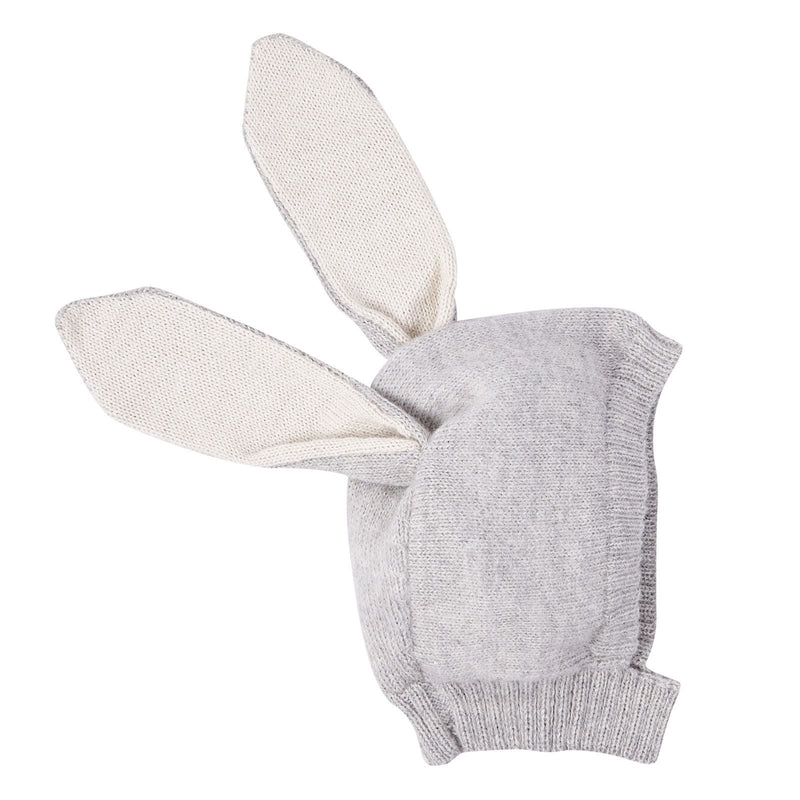 Baby Light Grey Alpaca Wool Knitted Rabbit Cagoule - CÉMAROSE | Children's Fashion Store - 2
