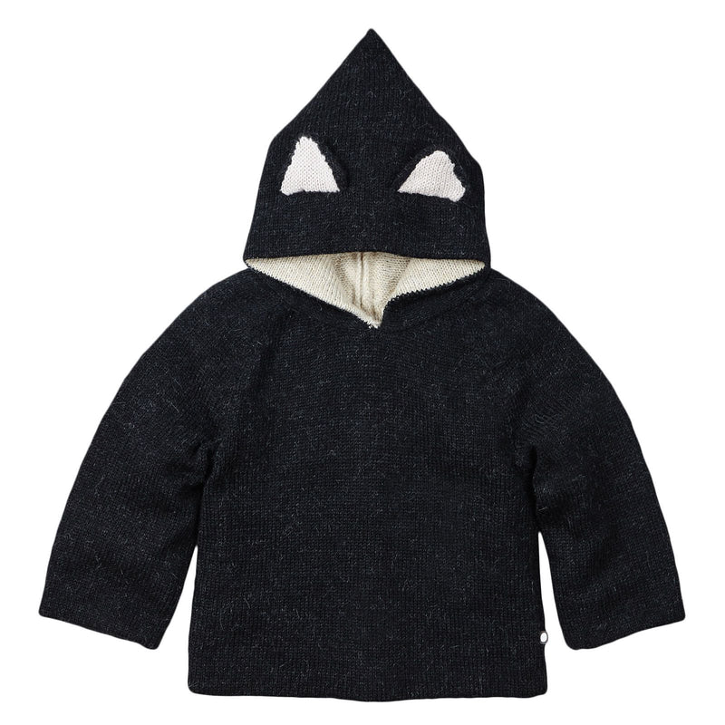 Baby Black Alpaga Wool Hooded Cat Sweatshirt - CÉMAROSE | Children's Fashion Store - 1