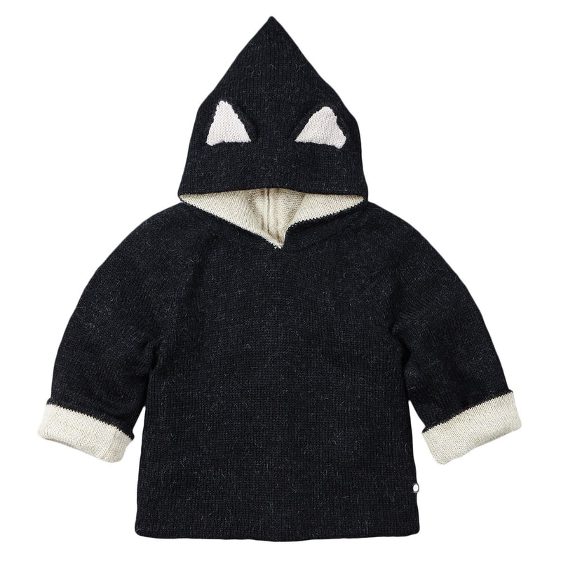 Baby Black Alpaga Wool Hooded Cat Sweatshirt - CÉMAROSE | Children's Fashion Store - 3