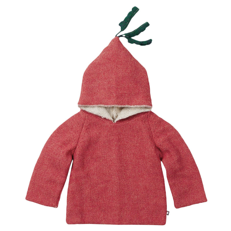 Baby Red Alpaga Wool Hooded Radish Sweatshirt - CÉMAROSE | Children's Fashion Store - 3