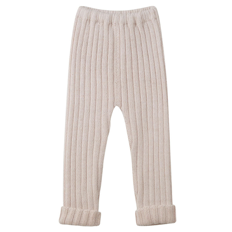Baby Light Pink Alpaca Wool Ribbed Trousers - CÉMAROSE | Children's Fashion Store - 1