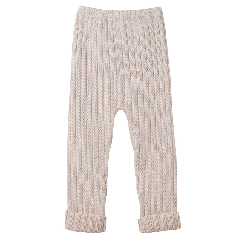 Baby Light Pink Alpaca Wool Ribbed Trousers - CÉMAROSE | Children's Fashion Store - 2