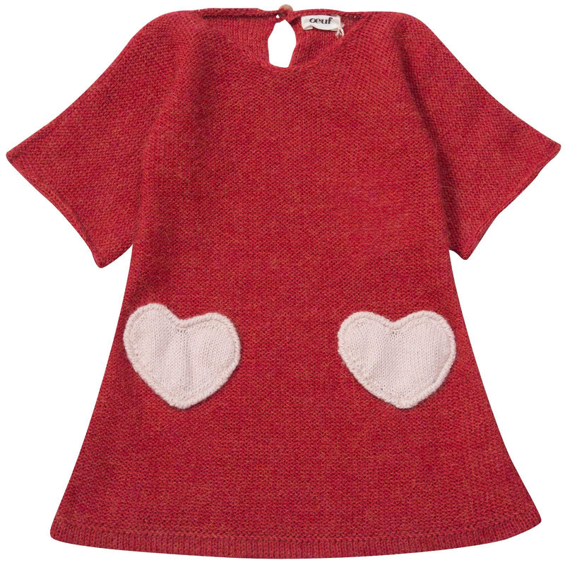 Baby Girls Red Alpaga Wool Patch Heart Dress - CÉMAROSE | Children's Fashion Store - 1
