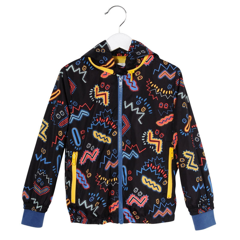 Girls Black Zig Zag Printed Hooded Outerwear Zip-up Tops - CÉMAROSE | Children's Fashion Store - 1