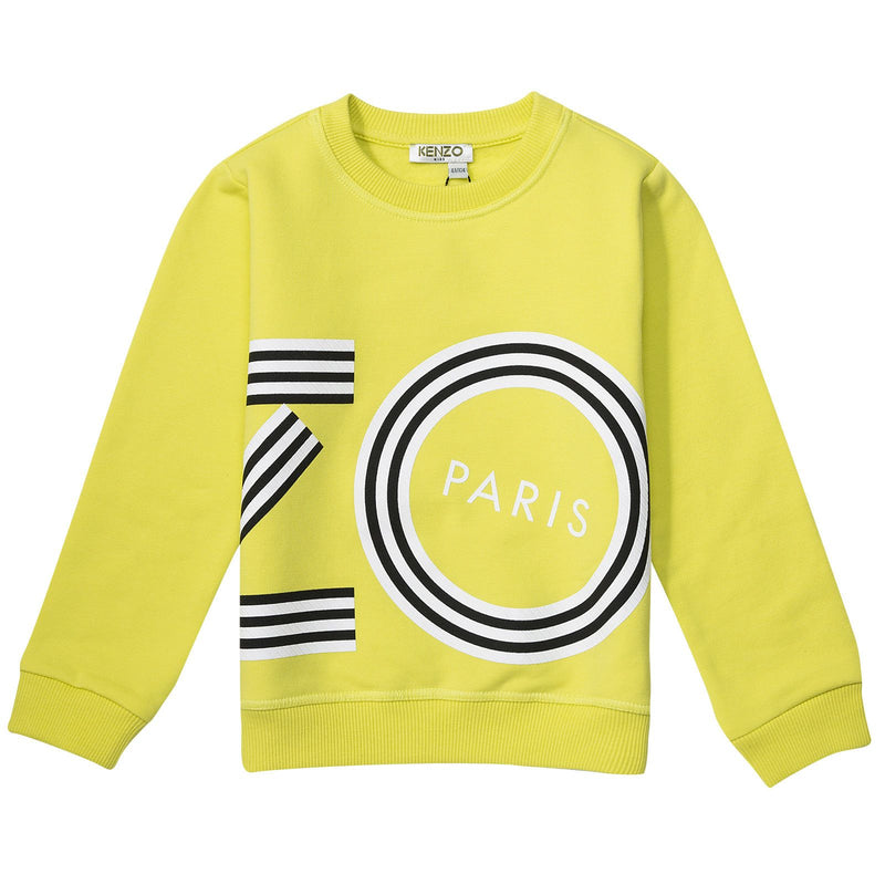 Baby&Girls Lime Green Printed Logo Sweatshirt - CÉMAROSE | Children's Fashion Store - 1