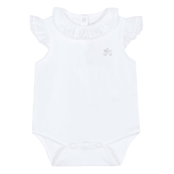 Girls White Cotton Babysuit