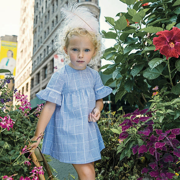 Girls Blue Riviera Cotton Dress