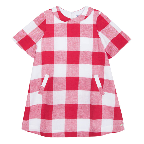 Girls Red Check Dress