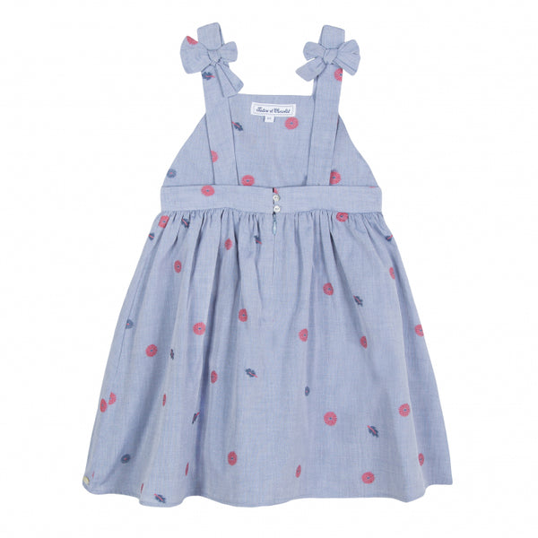 Girls Light Blue Embroidery Cotton Dress