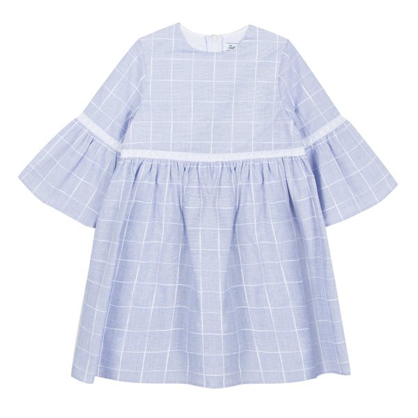 Girls Light Blue Check Dress