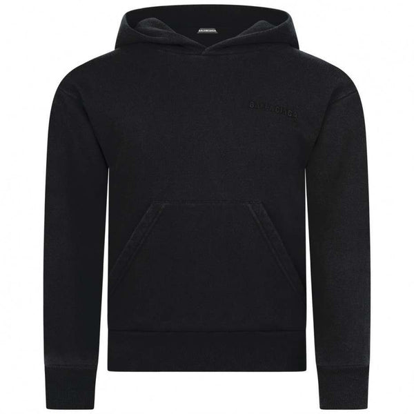 Boys & Girls Black Hooded Cotton Sweater