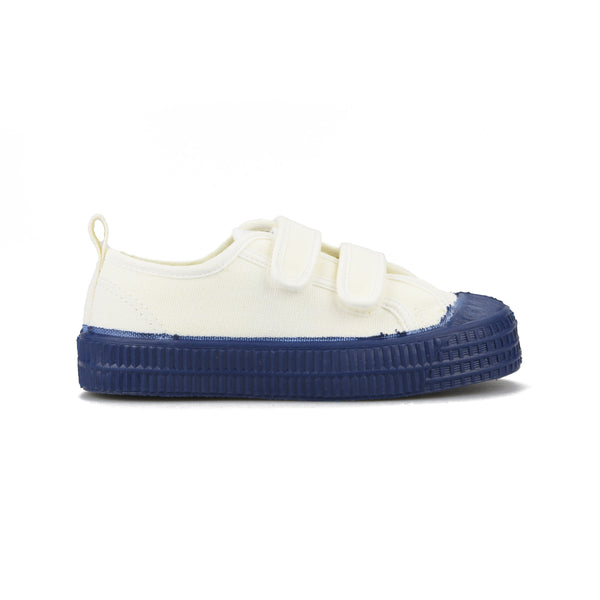 Boys White Navy Velcro Shoes