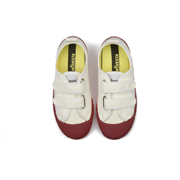 Girls White & Red Velcro Shoes
