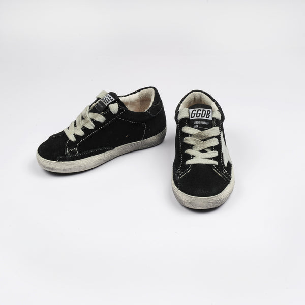 Baby Boys Black Leather Superstar Sneakers
