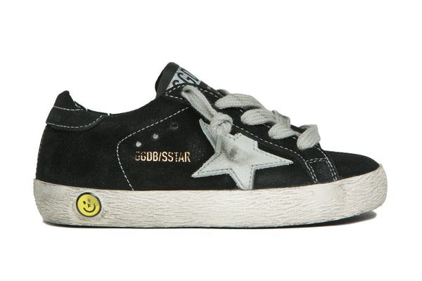 Boys Black Leather Superstar Sneakers