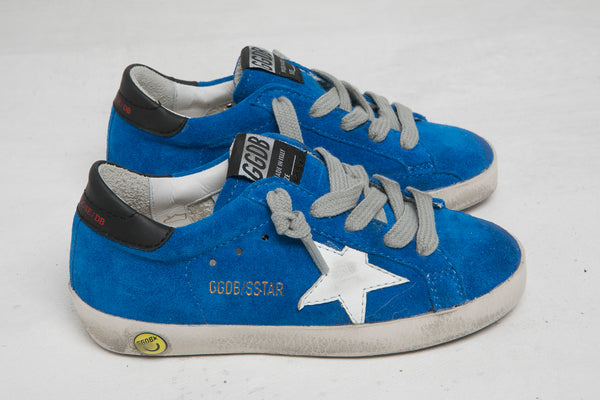 Boys Blue & White Star Leather Shoes